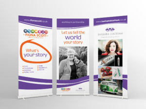 3 Pull Up Banners working together